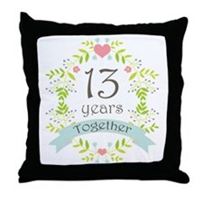 13th Anniversary flowers and hearts Throw Pillow