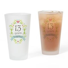 13th Anniversary flowers and hearts Drinking Glass