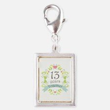 13th Anniversary flowers and Silver Portrait Charm