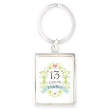 13th Anniversary flowers and hea Portrait Keychain
