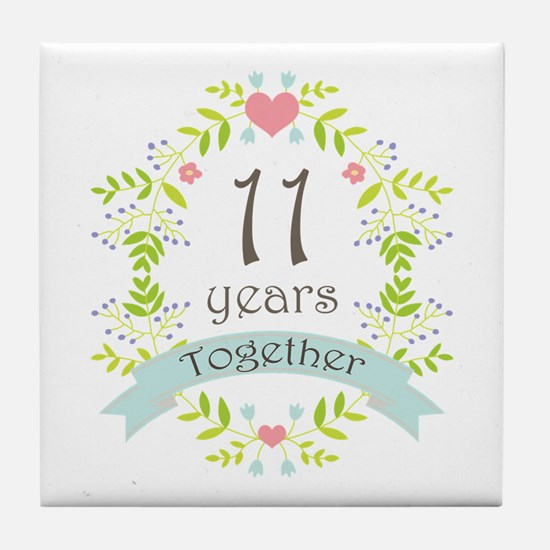 11th Anniversary flowers and hearts Tile Coaster