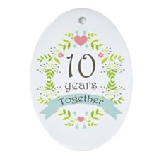 10th Anniversary flowers and heart Ornament (Oval)