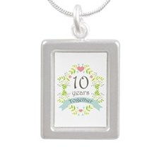 10th Anniversary flowers Silver Portrait Necklace
