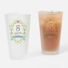 8th Anniversary flowers and hearts Drinking Glass