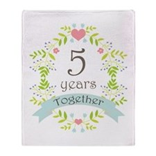 5th Anniversary flowers and hearts Throw Blanket