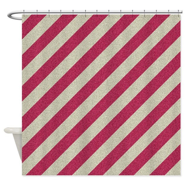 Red And Grey Vintage Striped Shower Curtain By Thetestshop