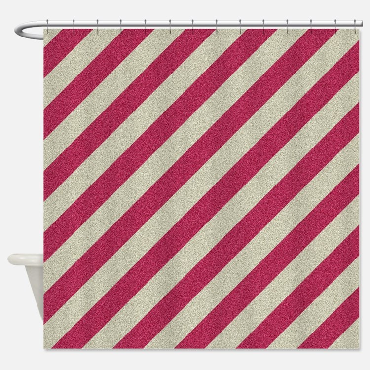 Striped Grey Red Shower Curtains