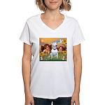 Angels & Bull Terrier #1 Women's V-Neck T-Shirt