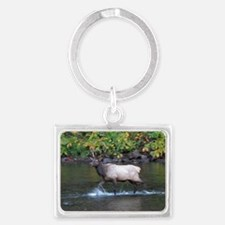 Bull Elk in river Landscape Keychain