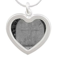 Stone Cross Silver Heart Necklace