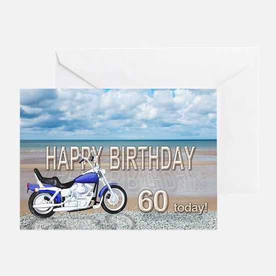 60th birthday card with a motor bike Greeting Card