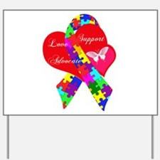 Interlaced Autism Ribbon Yard Sign