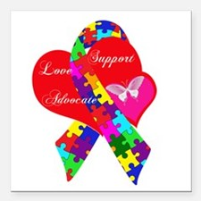"Interlaced Autism Ribbon Square Car Magnet 3"" x 3"""