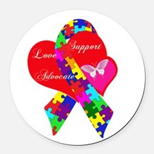 Interlaced Autism Ribbon Round Car Magnet