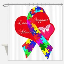 Interlaced Autism Ribbon Shower Curtain