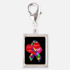 Interlaced Autism Ribbon Silver Portrait Charm