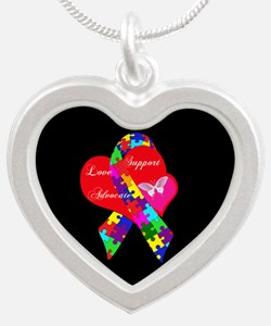 Interlaced Autism Ribbon Silver Heart Necklace