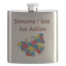 Someone I love has Autism (red) Flask