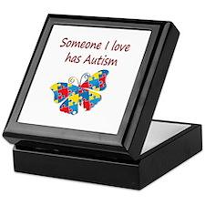 Someone I love has Autism (red) Keepsake Box