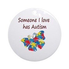 Someone I love has Autism (red) Ornament (Round)