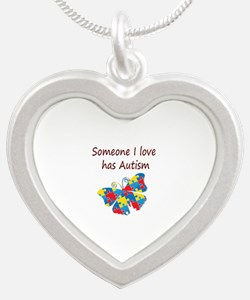 Someone I love has Autism (r Silver Heart Necklace