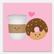 Cute Coffee and Donut in Love, Perfect Pair Square