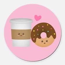 Cute Coffee and Donut in Love, Perfect Pair Round