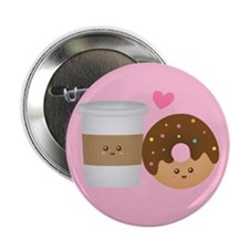 Cute Coffee and Donut in Love, Perfect Pair 2.25""