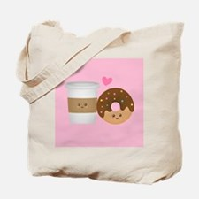 Cute Coffee and Donut in Love, Perfect Pair Tote B