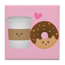 Cute Coffee and Donut in Love, Perfect Pair Tile C