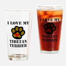 I Love My Tibetan Terrier Drinking Glass