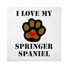I Love My Springer Spaniel Queen Duvet