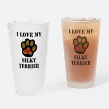 I Love My Silky Terrier Drinking Glass