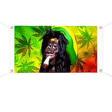 Rastaman Marijuana Caricature 3d Banner
