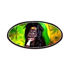 Rastaman Marijuana Caricature 3d Patches