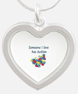 Someone I love has Autism (b Silver Heart Necklace