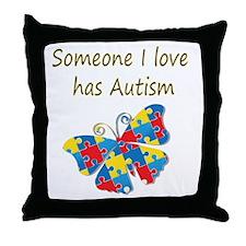 Someone I love has Autism (yellow) Throw Pillow