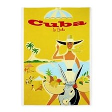 Cuba, Beach, Travel, Vintage Poster 5'x7'area Rug