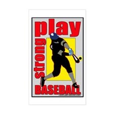 Baseball Play Strong Rectangle Decal