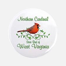 "Cardinal West Virginia Bird 3.5"" Button"