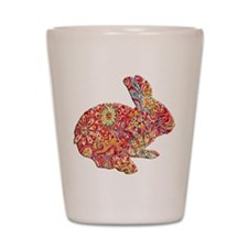 Colorful Floral Easter Bunny Shot Glass