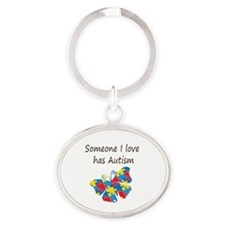 Someone I love has Autism (multi) Oval Keychain