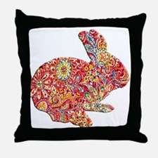 Colorful Floral Easter Bunny Throw Pillow
