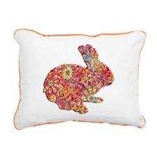 Colorful Floral Easter Bunny Rectangular Canvas Pi