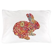Colorful Floral Easter Bunny Pillow Case