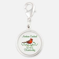 Cardinal Kentucky Bird Silver Round Charm