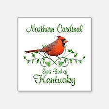 "Cardinal Kentucky Bird Square Sticker 3"" x 3"""