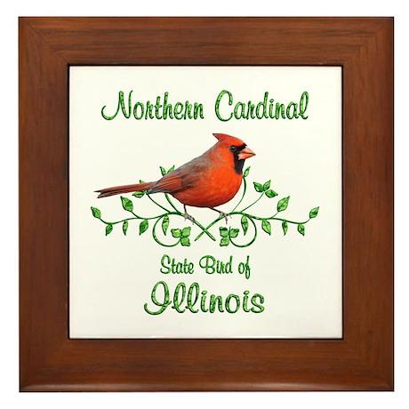 Cardinal Illinois Bird Framed Tile