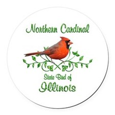 Cardinal Illinois Bird Round Car Magnet