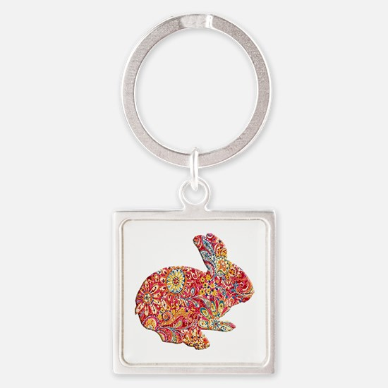 Colorful Floral Easter Bunny Keychains